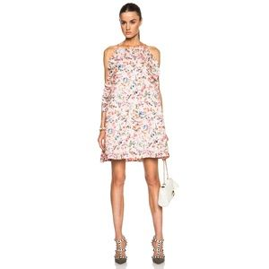 NWT MSGM Silk Ruffle Floral Dress